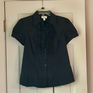 LOFT Black Short Sleeved Ruffled Blouse